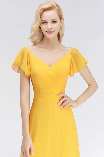 Elegent Short-Sleeve Long Bridesmaid Dress Online Yellow Chiffon Wedding Party Dress_5
