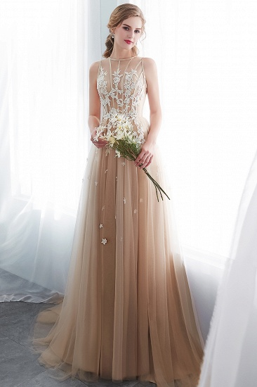 Elegant Sleeveless Tulle Prom Dress Long Evening Gowns With Appliques_4