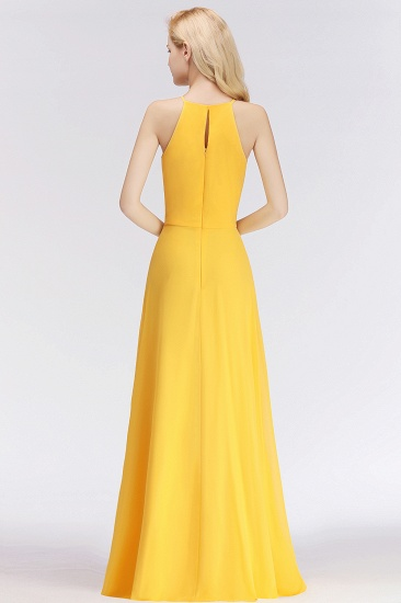 Modest High-Neck Yellow Chiffon Affordable Bridesmaid Dresses Online_52