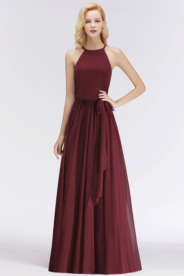 BMbridal Affordable Halter Bow Long Bridesmaid Dress Modest Burgundy Chiffon Wedding Party Dress_54
