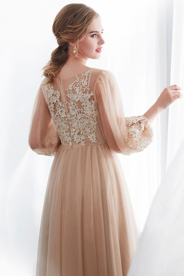 Gorgeous Long Sleeve Tulle Prom Dress Long Evening Party Gowns With Appliques_9