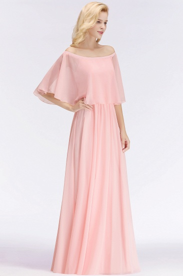 Affordable Flounced Crinkle Halter Bridesmaid Dresses Modest Pink Chiffon Wedding Party Dress_5
