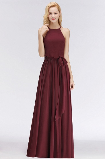 BMbridal Affordable Halter Bow Long Bridesmaid Dress Modest Burgundy Chiffon Wedding Party Dress_51