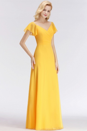 Elegent Short-Sleeve Long Bridesmaid Dress Online Yellow Chiffon Wedding Party Dress_4