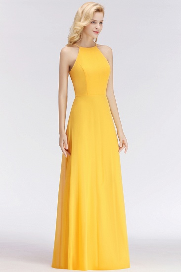 Modest High-Neck Yellow Chiffon Affordable Bridesmaid Dresses Online_54