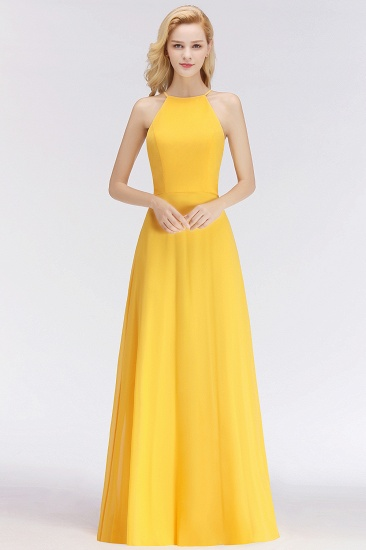 Modest High-Neck Yellow Chiffon Affordable Bridesmaid Dresses Online_51