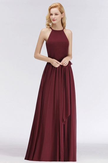 BMbridal Affordable Halter Bow Long Bridesmaid Dress Modest Burgundy Chiffon Wedding Party Dress_56