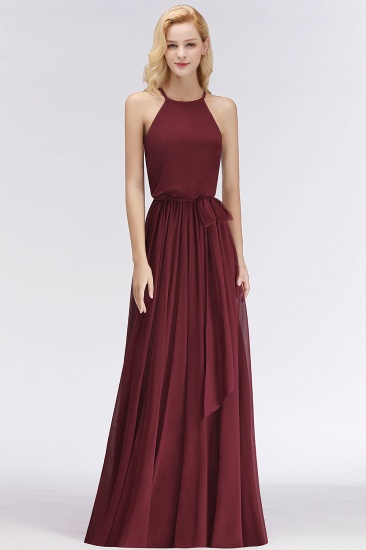 BMbridal Affordable Halter Bow Long Bridesmaid Dress Modest Burgundy Chiffon Wedding Party Dress_53