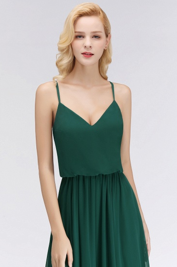 BMbridal Dark Green Chiffon Spaghetti-Straps Modest Bridesmaid Dress Online_7