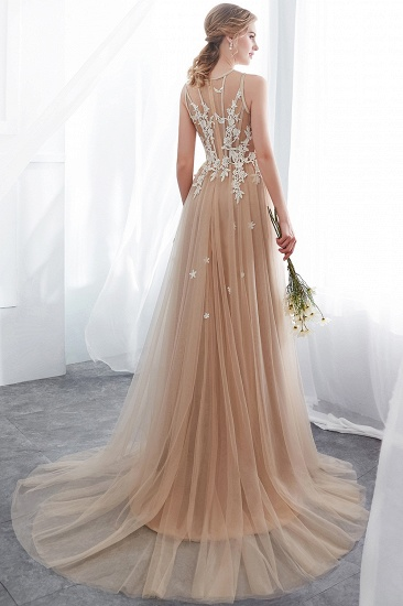 Elegant Sleeveless Tulle Prom Dress Long Evening Gowns With Appliques_3