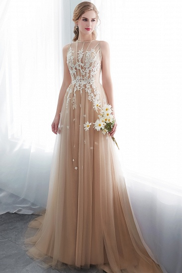 Elegant Sleeveless Tulle Prom Dress Long Evening Gowns With Appliques_6