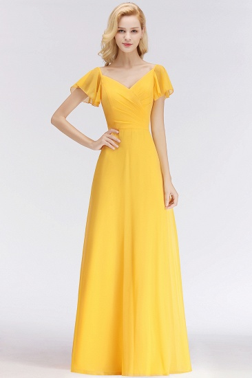 Elegent Short-Sleeve Long Bridesmaid Dress Online Yellow Chiffon Wedding Party Dress_1