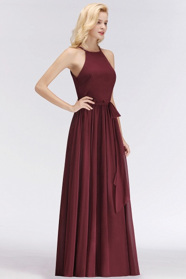 BMbridal Affordable Halter Bow Long Bridesmaid Dress Modest Burgundy Chiffon Wedding Party Dress_55