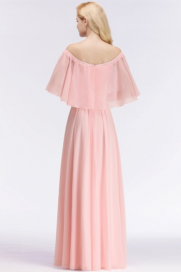 Affordable Flounced Crinkle Halter Bridesmaid Dresses Modest Pink Chiffon Wedding Party Dress_3
