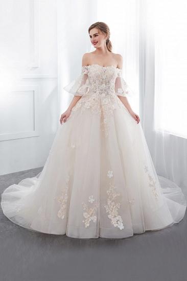 BMbridal Off-the-shoulder Appliques Ball Gown Wedding Dress Online_4