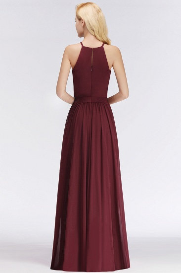 BMbridal Affordable Halter Bow Long Bridesmaid Dress Modest Burgundy Chiffon Wedding Party Dress_52