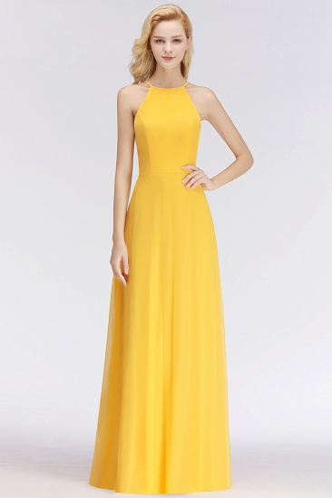 Modest High-Neck Yellow Chiffon Affordable Bridesmaid Dresses Online_53