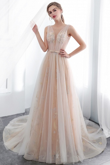 BMbridal Charming Sleeveless Embrodiery Long prom Dress With Lace-up_5