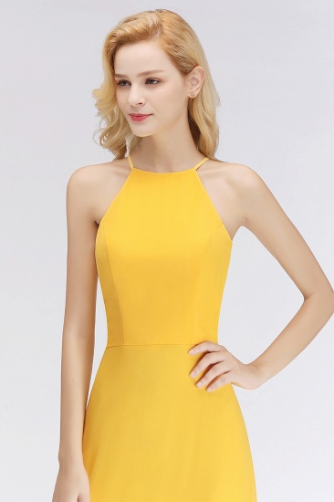 Modest High-Neck Yellow Chiffon Affordable Bridesmaid Dresses Online_55