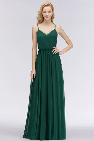 BMbridal Dark Green Chiffon Spaghetti-Straps Modest Bridesmaid Dress Online_5
