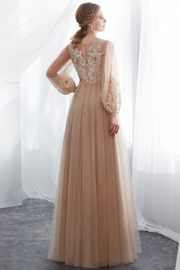 Gorgeous Long Sleeve Tulle Prom Dress Long Evening Party Gowns With Appliques_3