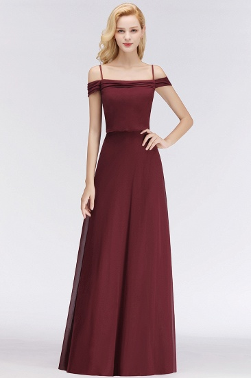 Elegant Off-the-Shoulder Burgundy Bridesmaid Dress Online Spaghetti-Straps Cheap Maid of Honor Dress_1