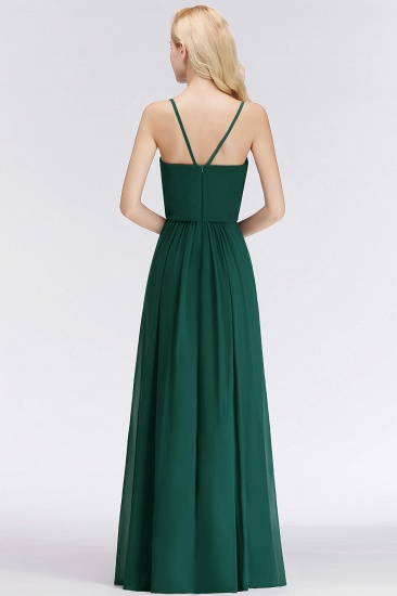 BMbridal Dark Green Chiffon Spaghetti-Straps Modest Bridesmaid Dress Online_3