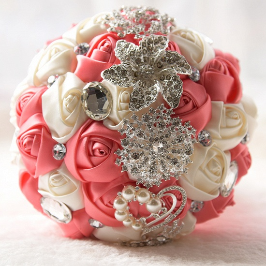 Colorful Silk Rose Crystal Beading Wedding Bouquet_4