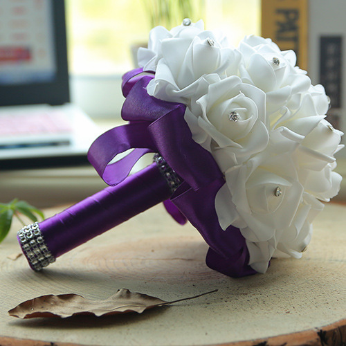 White Silk Wedding Bouquet with Colorful Handles_7
