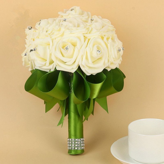 BMbridal Ivory Silk Beading Rose Bouquet with Colorful Ribbons_10