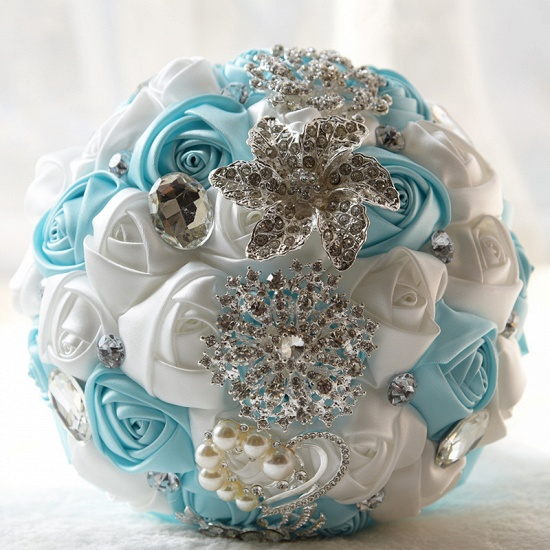 BMbridal Colorful Silk Rose Crystal Beading Wedding Bouquet_8