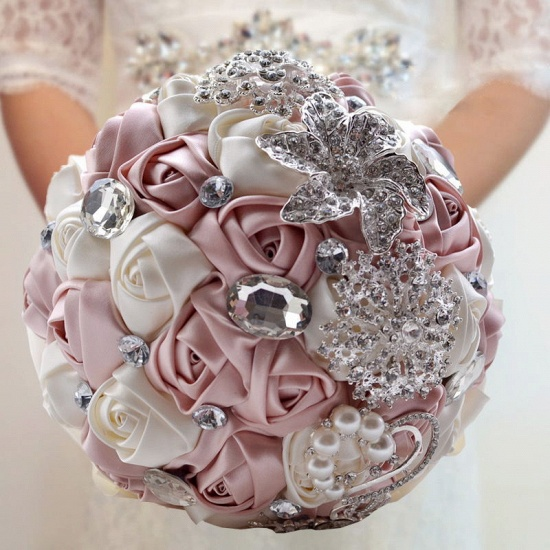 BMbridal Colorful Silk Rose Crystal Beading Wedding Bouquet_3