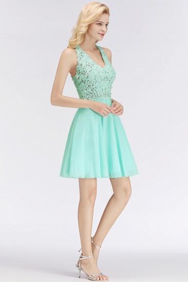 BMbridal A-line V-neck Sleeveless Short Appliques Chiffon Homecoming Dress_6