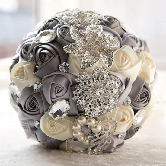 BMbridal Colorful Silk Rose Crystal Beading Wedding Bouquet_1