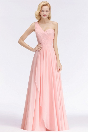 Chic One-shoulder Ruffle Sleeveless Bridesmaid Dress Cheap Online_4
