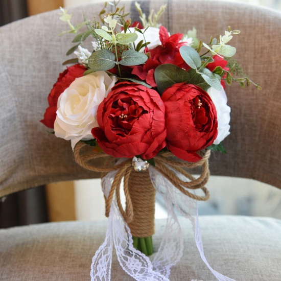 BMbridal Real Touch Colorful Artifial Roses Wedding Bouquet_4