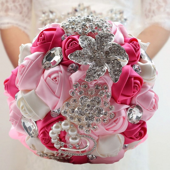 BMbridal Colorful Silk Rose Crystal Beading Wedding Bouquet_5