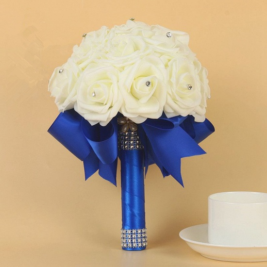 BMbridal Ivory Silk Beading Rose Bouquet with Colorful Ribbons_9