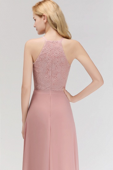 Gorgeous High-Neck Halter Lace Affordable Bridesmaid Dress with Ruffle_6