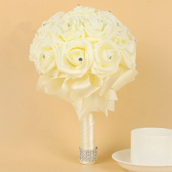 BMbridal Ivory Silk Beading Rose Bouquet with Colorful Ribbons_2