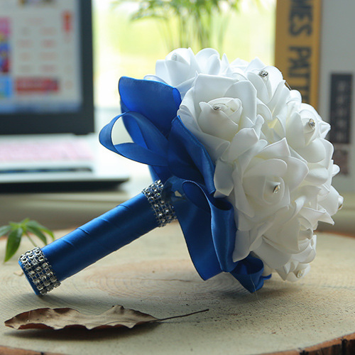 White Silk Wedding Bouquet with Colorful Handles_10