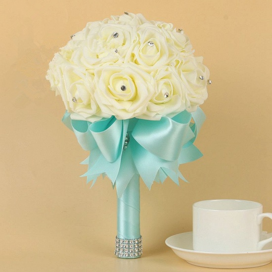BMbridal Ivory Silk Beading Rose Bouquet with Colorful Ribbons_8
