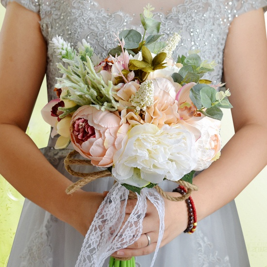BMbridal Real Touch Colorful Artifial Roses Wedding Bouquet_9