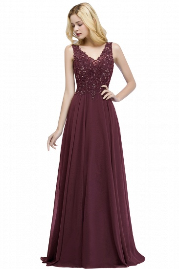 BMbridal A-line V-neck Sleeveless Long Appliqued Chiffon Prom Dress with Crystals_2
