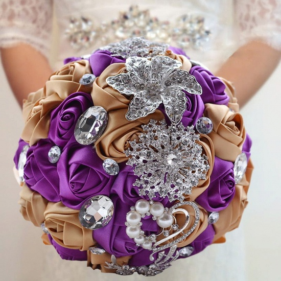 BMbridal Colorful Silk Rose Crystal Beading Wedding Bouquet_7