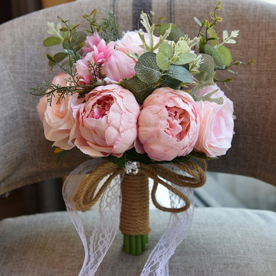 BMbridal Real Touch Colorful Artifial Roses Wedding Bouquet_3