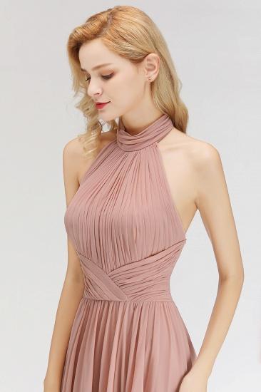 BMbridal A-line Floor Length Halter Ruffled Chiffon Bridesmaid Dress_7
