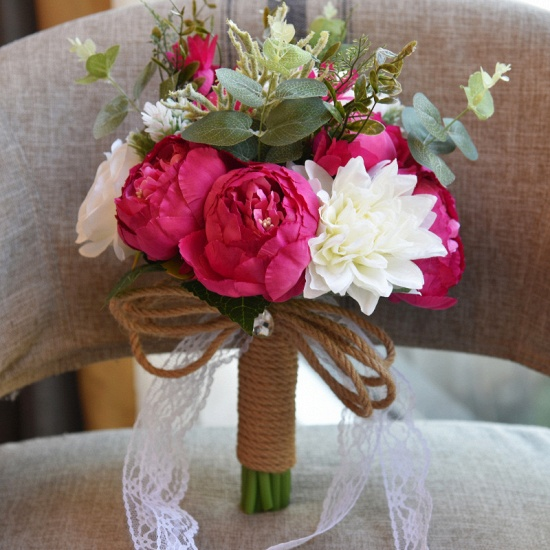 BMbridal Real Touch Colorful Artifial Roses Wedding Bouquet_5