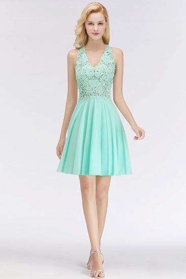BMbridal A-line V-neck Sleeveless Short Appliques Chiffon Homecoming Dress_9