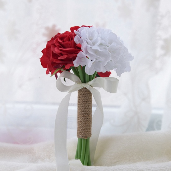 BMbridal Real Touch Artificial Peony and Rose Wedding Bouquet_3